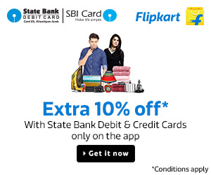 Extra 10% Off with State Bank Credit and Debit Cards only on the App.