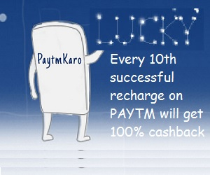 Every 10th successful recharge on Paytm  will get 100% Cashback